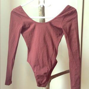 American Apparel long sleeve scoop back bodysuit